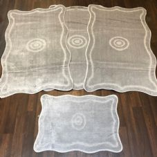 ROMANY GYPSY WASHABLES 4PC SET NON SLIP MATS 80x120CM TARGET DESIGN SILVER RUGS